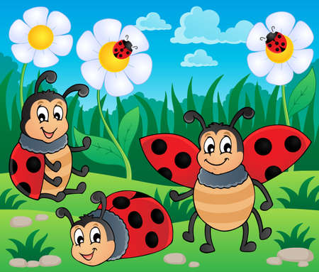 Image with ladybug theme 2 - vector illustration  Vector