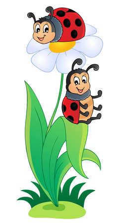 leaf insect: Image with ladybug theme 3 - vector illustration  Illustration