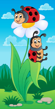 Image with ladybug theme 4 - vector illustration  Vector
