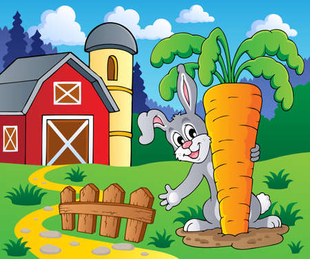 barnyard: Image with rabbit theme 2 - vector illustration