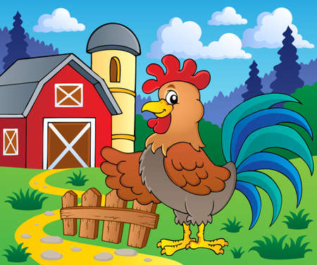 Image with rooster theme 2 - vector illustration  Illustration