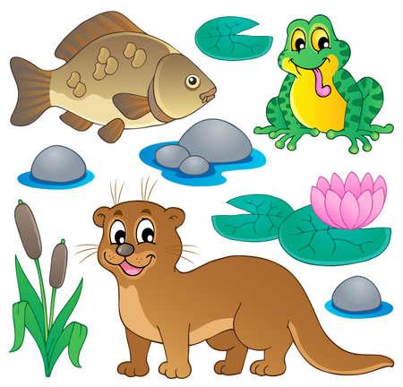 nutria caricatura: Fauna del río de recogida 1 - ilustración vectorial
