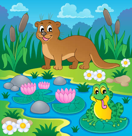 cattail: River fauna theme image 1 - vector illustration