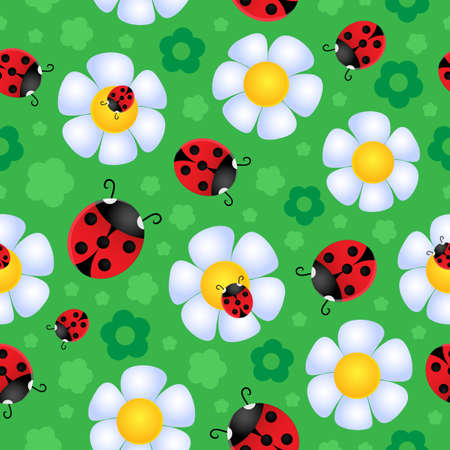 ladybirds: Seamless background flower theme 2 - vector illustration  Illustration