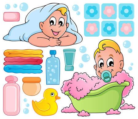 little girl bath: Baby bath theme collection 1