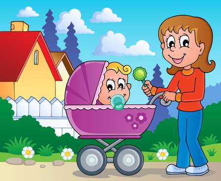 Baby carriage theme image 2 Stock Vector - 17794488