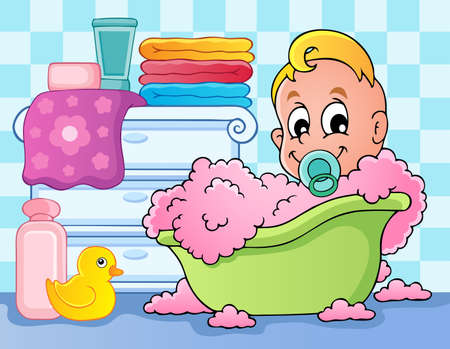cartoon bathing: Baby room theme image 4