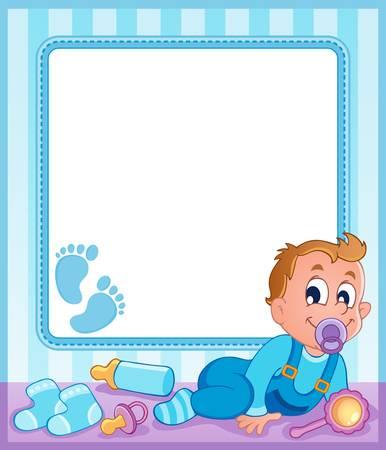rammelaar: Baby thema frame 1 Stock Illustratie