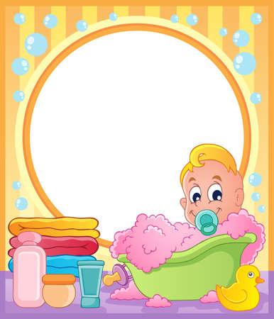 infant bathing: Baby theme frame 3