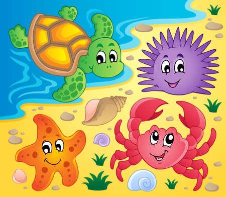 Strand met schelpen en zeedieren 3 Vector Illustratie