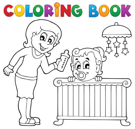 baby bed: Coloring book baby theme image 1  Illustration