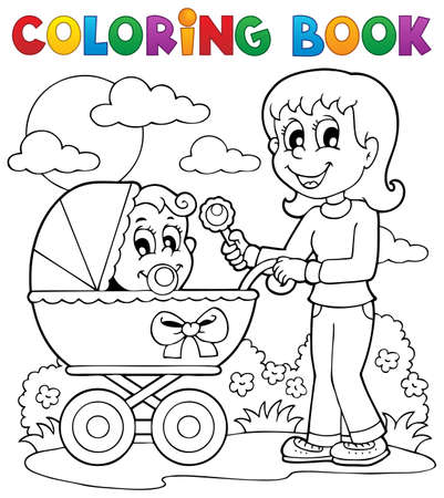 Coloring book baby theme image 2 Vector