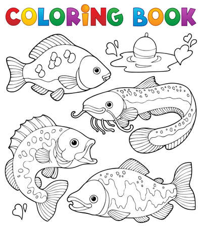 Coloring book freshwater fishes 1  Vector