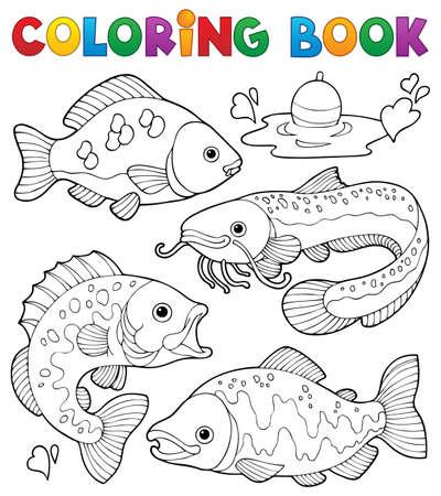 carp fishing: Coloring book pesci d'acqua dolce 1 Vettoriali