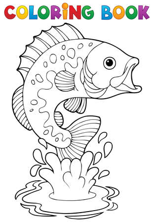 outline fish: Coloring book freshwater fishes 2