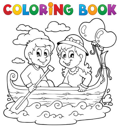 Coloring book love theme image 1 Vector