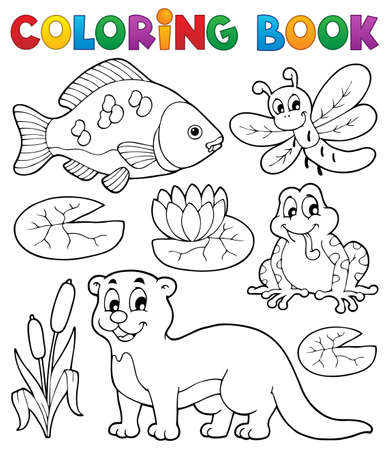 Coloring book river fauna image 1  Vector