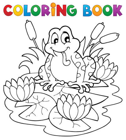 waterlily: Coloring book river fauna image 2  Illustration