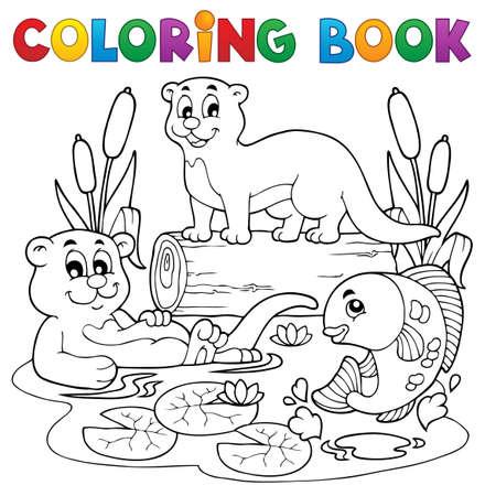 nutria caricatura: Coloring book fauna fluvial image 3 Vectores