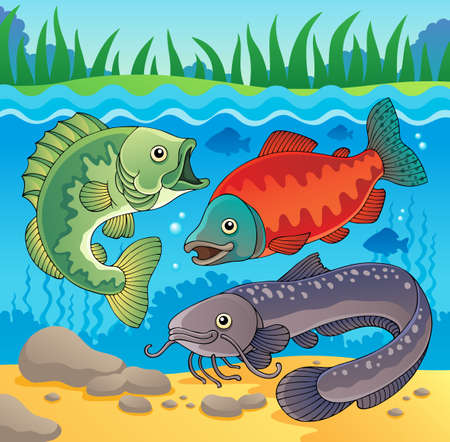 Freshwater fish theme image 3  Vector