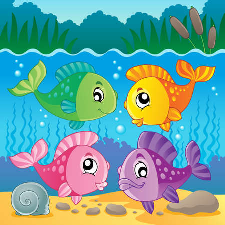 Freshwater fish theme image  Vector
