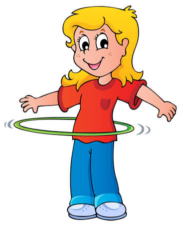 Girl exercise with jumping hoop  Ilustracja