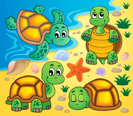 aquatic reptile: Image with turtle theme 2  Illustration