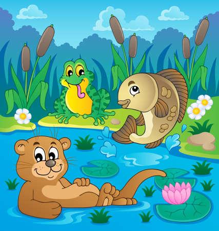 cattail: River fauna theme image 2   Illustration