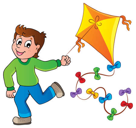flying a kite: Running boy with kite  Illustration