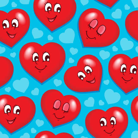 Seamless background with 7 hearts  Vector