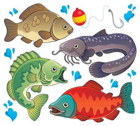 catch of fish: Various freshwater fishes 2  Illustration