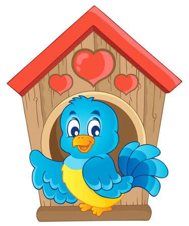 Bird nesting box theme image 1 - vector illustration