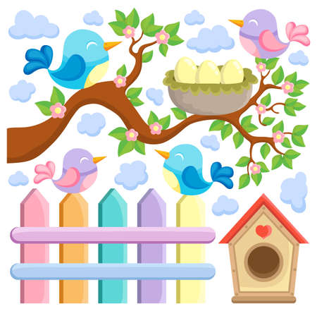 nesting box: Bird theme image 5 - vector illustration