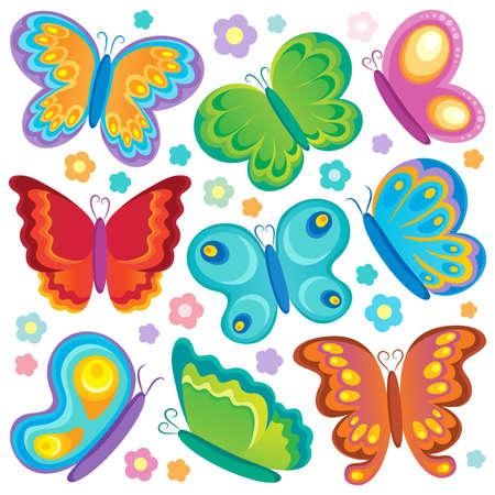 tekening vlinder: Butterfly theme collectie 1 - vector illustration Stock Illustratie