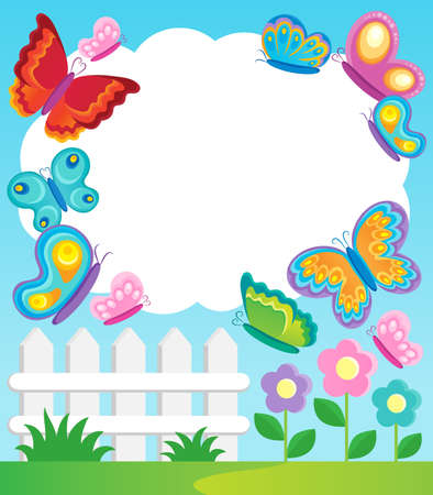 animal themes: Butterfly theme frame 1 - vector illustration