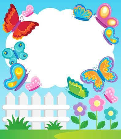 papillon dessin: Cadre de thème de papillon 1 - illustration vectorielle