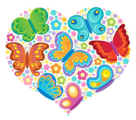 tekening vlinder: Butterfly theme beeld Stock Illustratie