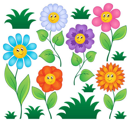 flowers cartoon: Cartoon flowers collection 1 - vector illustration