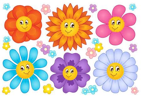 Cartoon flowers collection 2 - vector illustration