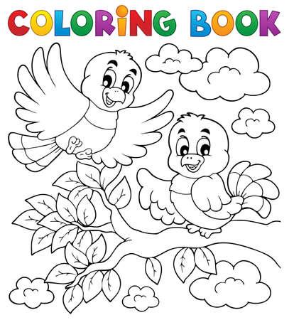 libro caricatura: Colorear tema del libro p�jaro 2 - ilustraci�n vectorial