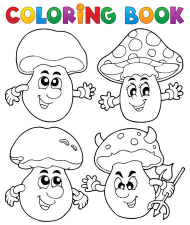 autumn colouring: Coloring book mushroom theme 1 - vector illustration