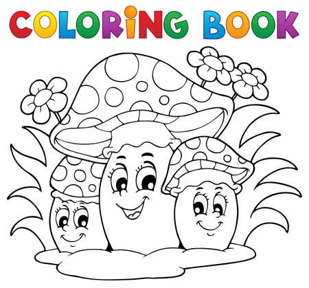 autumn colouring: Coloring book mushroom theme 2 - vector illustration