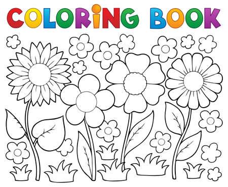 flor caricatura: Libro para colorear con el tema 2 de la flor - ilustración vectorial