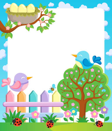 Frame with spring theme 1 - vector illustration  Stock Vector - 18088648