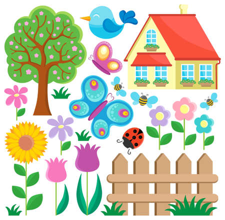 butterfly on flower: Garden theme collection 1 - vector illustration