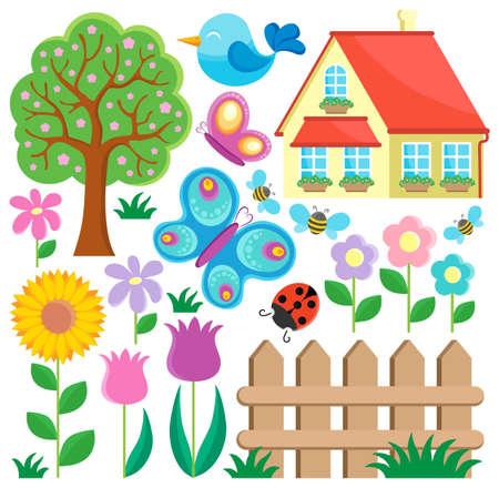 cartoon ladybug: Garden theme collection 1 - vector illustration