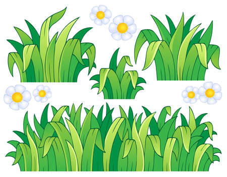 Leaves and grass theme image 1 - vector illustration
