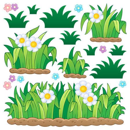 flor caricatura: Las hojas y hierba Tema 2 - ilustración vectorial Vectores