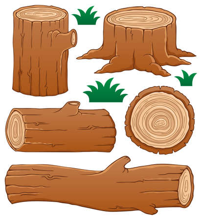 wood log: Log theme collection 1 - vector illustration