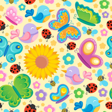 Spring theme seamless background 1 - vector illustration  Vector
